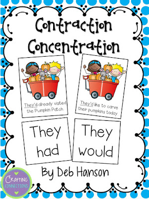 Advanced Contraction Concentration Game... FREE! (This version is for upper elementary, but the blog post contains another version designed for lower elementary!)