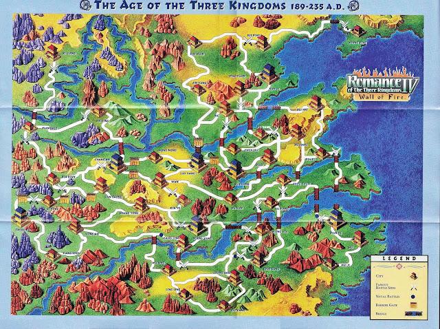 แผนที่จากเกม Romance of the Three Kingdoms IV: Wall of Fire ที่แถมมากับแผ่นเกมของเครื่อง Playstation