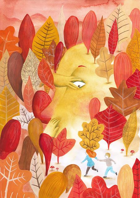 autumn mood, otoño, hojas secas, tonos cálidos, ilustración de otoño, bosque de otoño, hojas de roble, hoja caduca, pasear por el bosque, ilustración de otoño