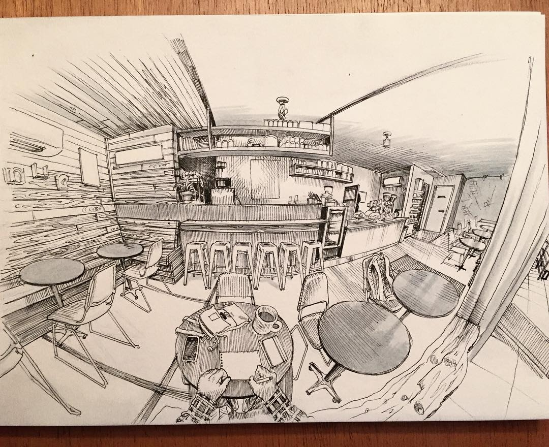 11-Huckleberry-Roasters-Paul-Heaston-Urban-Sketcher-Inserts-Himself-in-the-Drawing-www-designstack-co