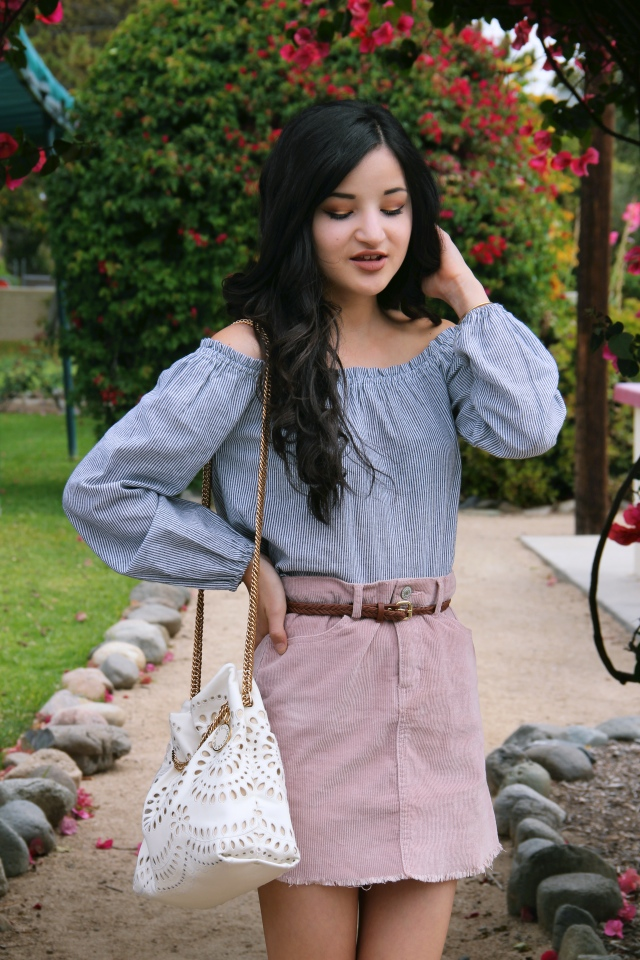 brandy melville theia off shoulder striped ruffle top blush pink juliette corduroy velvet skirt summer outfit