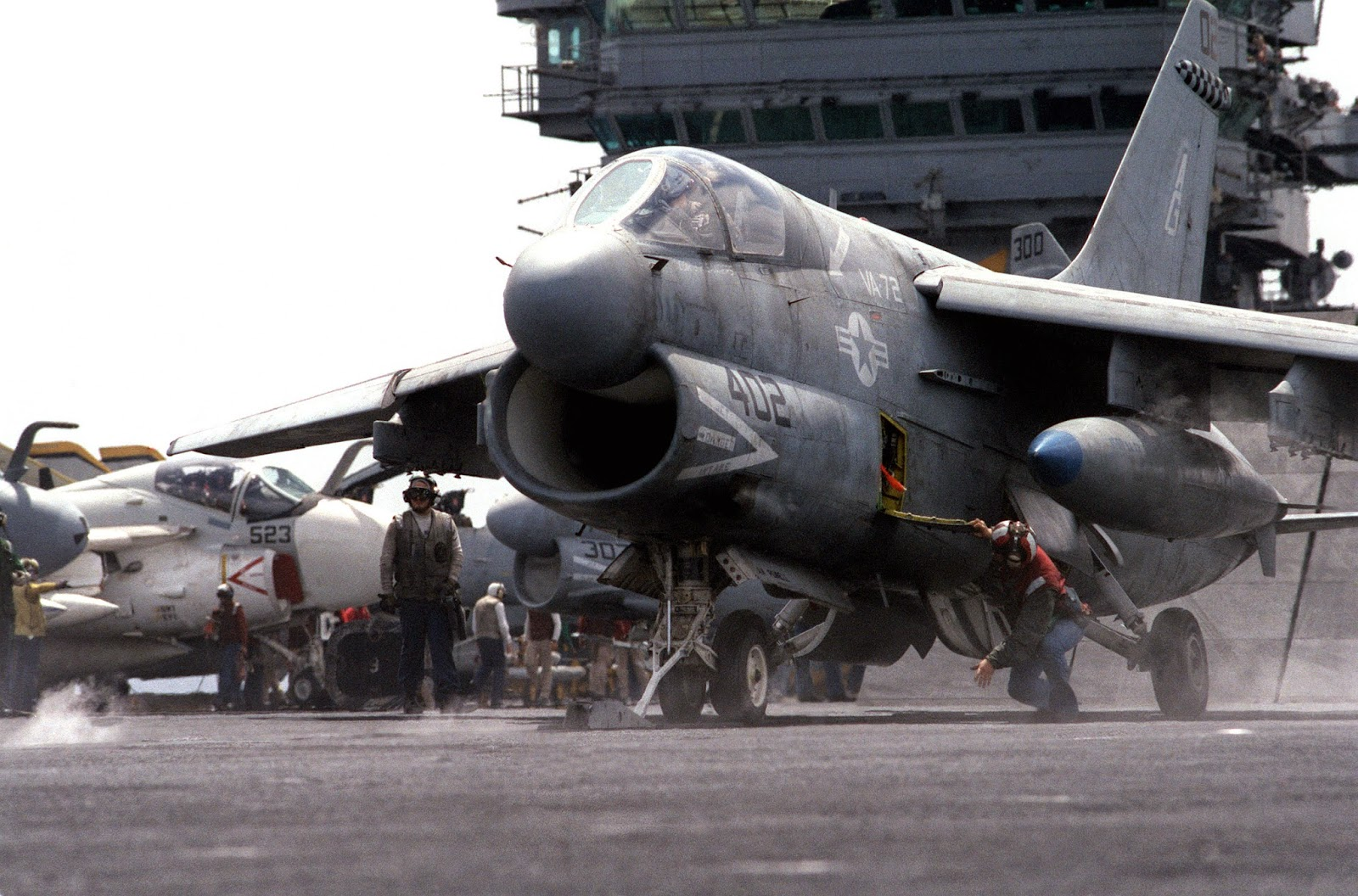 A-7 Corsair jet fighter on the flight deck of the USS Eisenhower