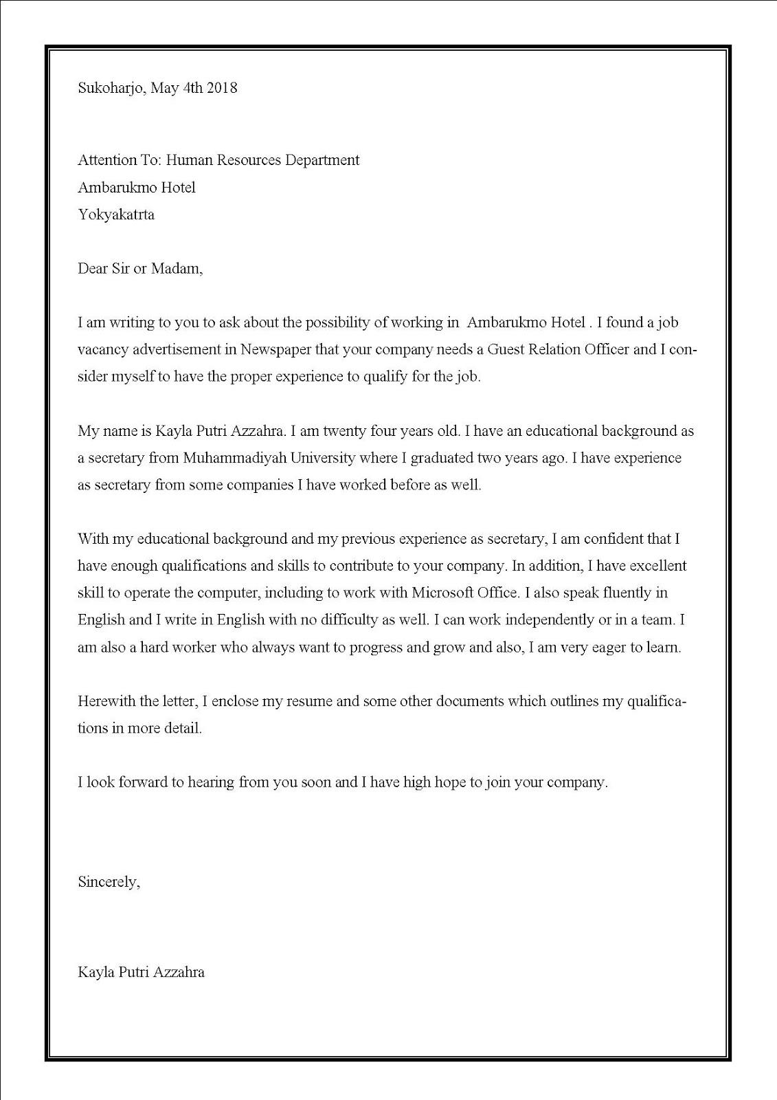 Contoh surat lamaran kerja di hotel menggunakan bahasa Inggris sebagai Guest Relation Officer