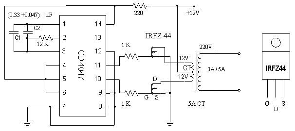 Rangkaian Inverter Dc To Ac Menggunakan Ic Cd4047 Dan Irfz44