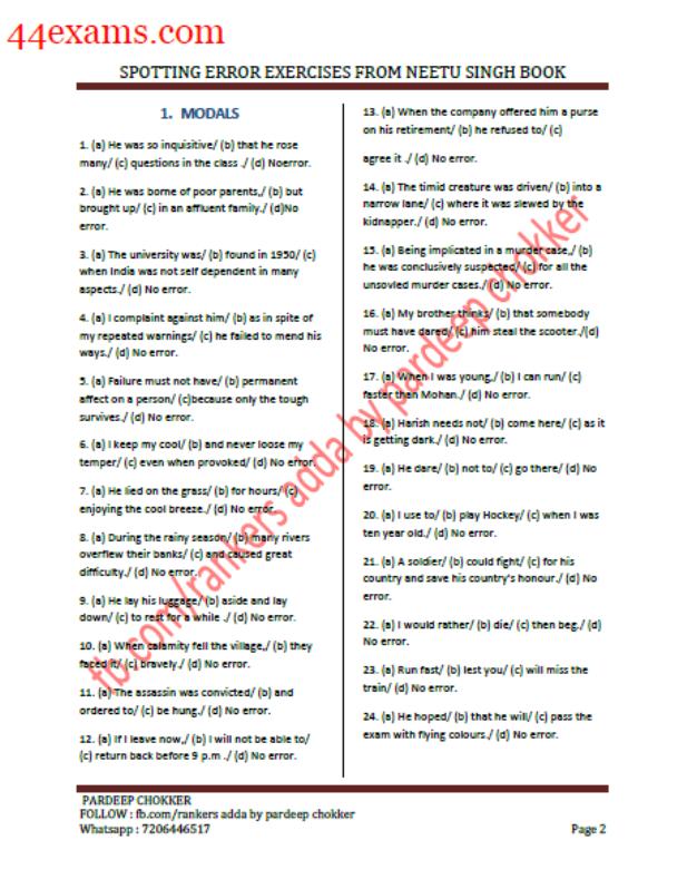 Spotting Error Exercises By Neetu Singh : For SSC Exam PDF Book