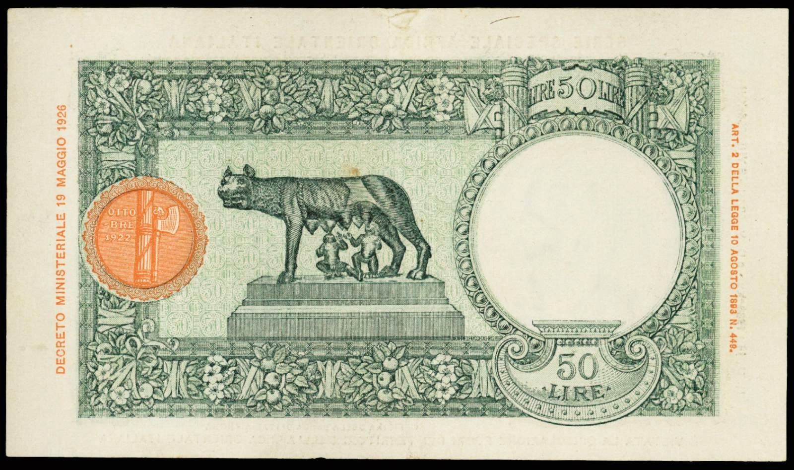Italian East Africa paper money 50 Lire Bank note 1939