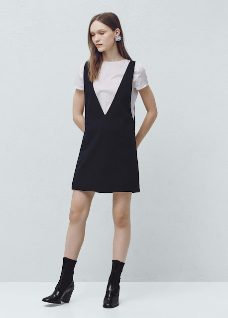 mango black v neck dress white tee, black pinafore with white top, mango black v neck dress,