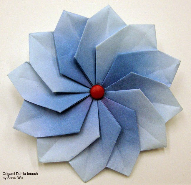 origami flower brooch pin