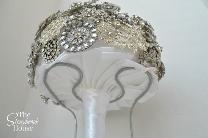 Handle Wrapped and ribbons complete for Brooch Bouquet