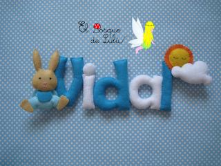 nombre-fieltro-Vidal-elbosquedelulu-decoración-infantil-name-banner-regalo-personalizado