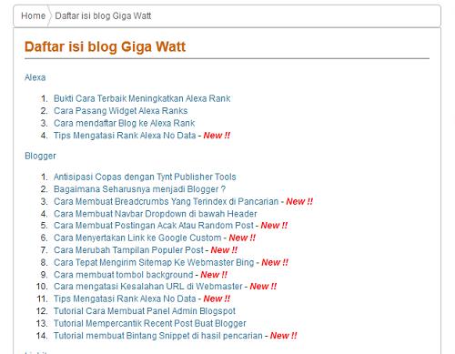 Cara Membuat Daftar isi Otmatis Update-Giga Watt