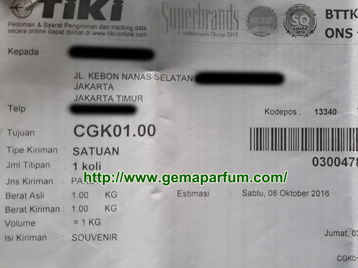 Pengiriman parfum ke Jakarta Timur