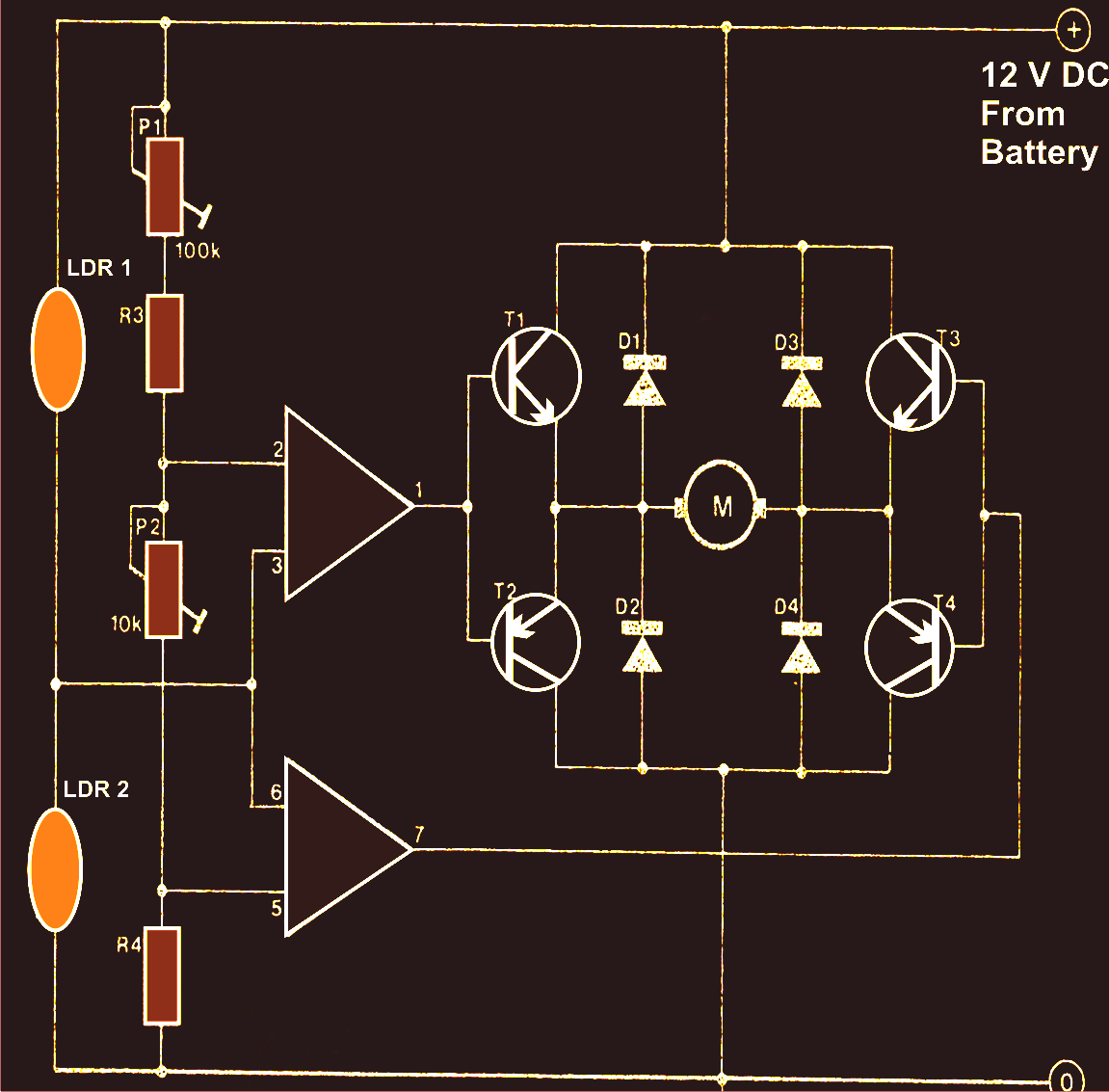 Solar Tracker Circuit Diagram Simple Ldr System Mechanism And Control Explained