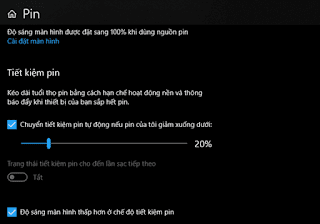 Một số mẹo tiết kiệm pin cho laptop chạy Windows 10