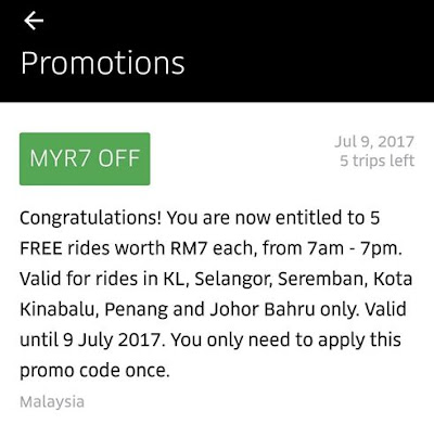 Uber Promo Code Malaysia July 2017