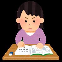 集中して勉強をする人のイラスト(女性)