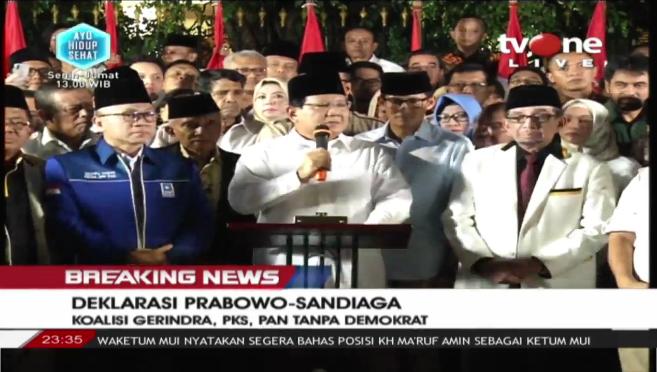Prabowo Umumkan Sandiaga Uno Sebagai Cawapres, Tanpa Demokrat!