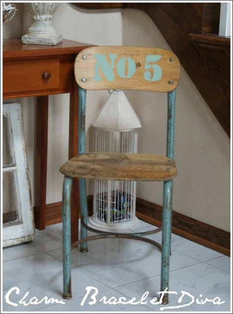 vintage stenciled school chair