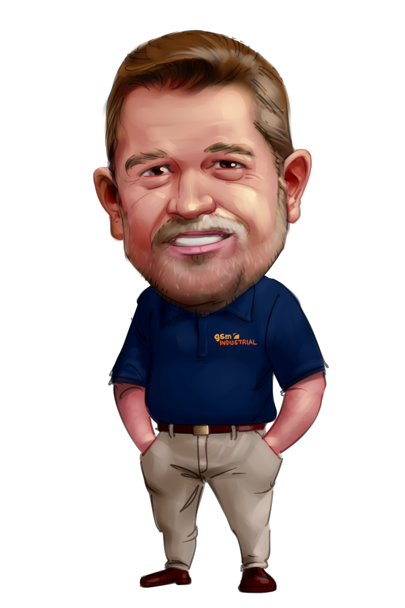 caricature from photo smiling telecom businessman in t-shirt
