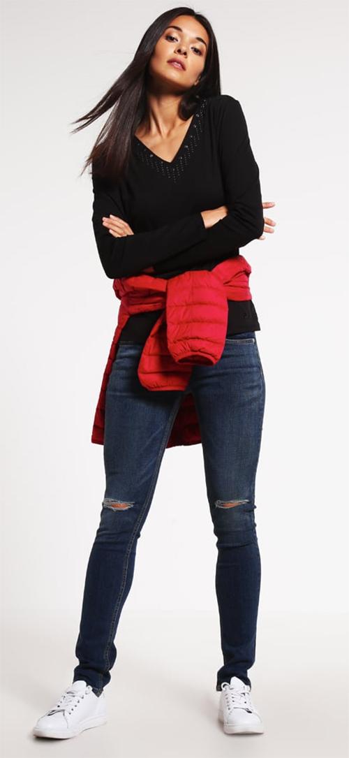 Tee-shirt femme noir manches longues Armani Jeans