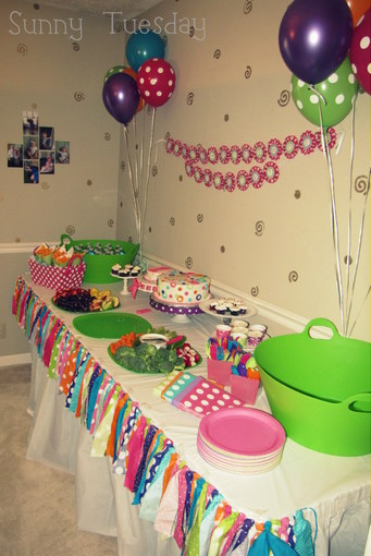 I Used A White Tablecloth And Skirt So As Not To Make It Overwhelming With All The Other Colors We Had Going On Made Scrap Rag Bunting Out Of Polka