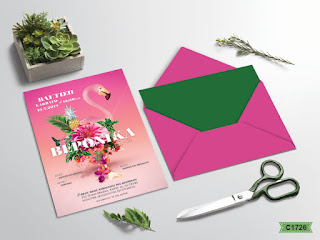 christening invitations with flamingo