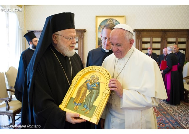 Папа Франциск і делегація Константинопольського патріархату