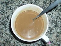Leche, café y esencia de vainilla mezclados