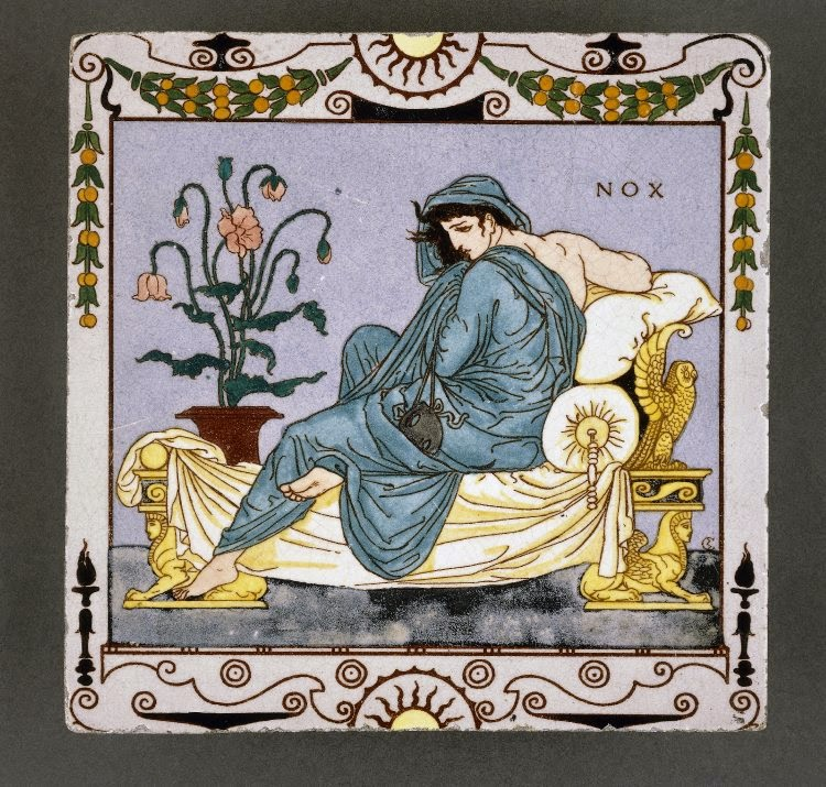 "Nox Walter Crane, British, 1878 ""Earthenware tile with a female figure of 'night' with a mask, reclining on a classical-style bed decorated with an owl and sphinxes. A vase of poppies is on the left and 'NOX' is inscribed at the top right, with swags, scrolls and suns forming the border."" -- British Museum The British Museum, UK."