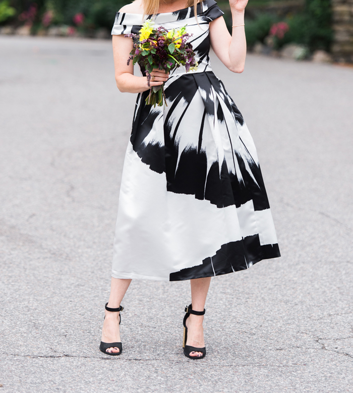 black white formal dress off the shoulder