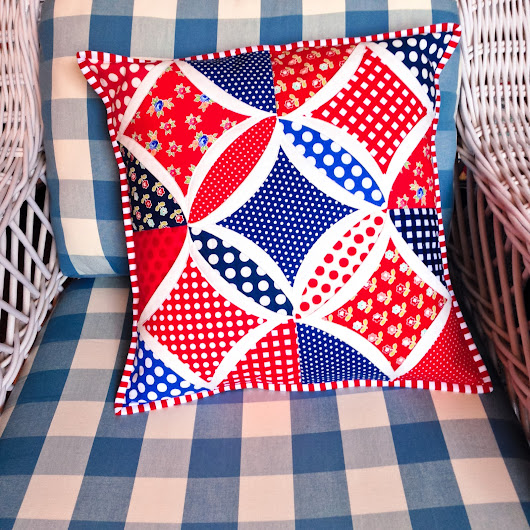 It's Flag Day! Patriotic Pillow in Cathedral Window pattern