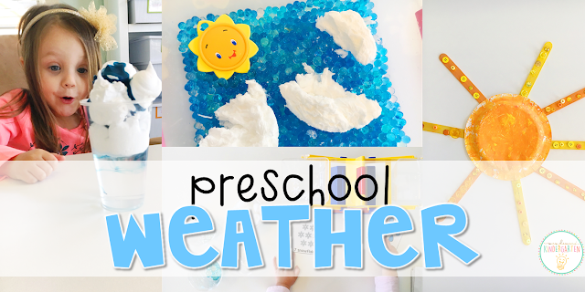 Tons of weather themed activities and ideas. Weekly plan includes books, literacy, math, science, art, sensory bins, and more! Perfect for tot school, preschool, or kindergarten.