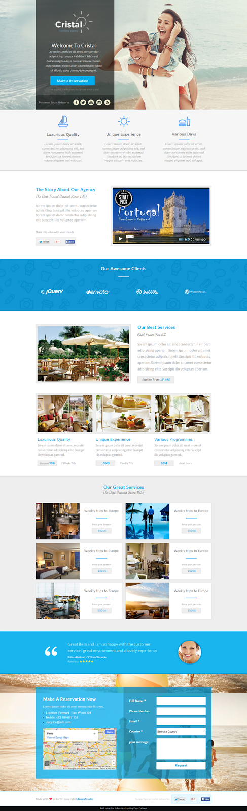 Travel Agency Unbounce Landing Page
