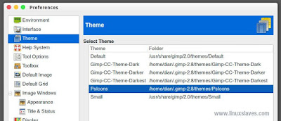 How to change gimp theme