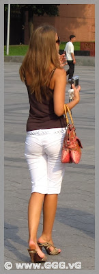Girl wearing white breeches