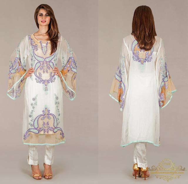Ayesha F.Hashwani Embroidered Cape Tunics 2016/17 www.fashionweartstyle.com