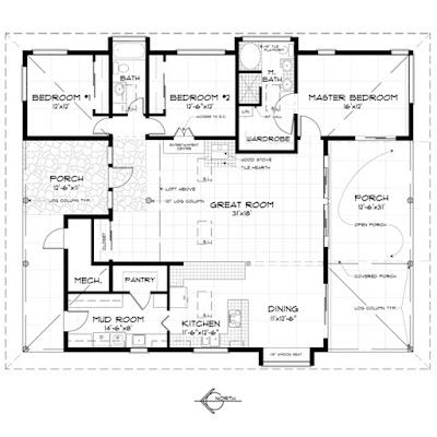 แบบบ้านชั้นเดียวหลังใหญ่ 3 ห้องนอน