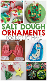 salt dough christmas ornaments for kids to make using their handprints and footprints and salt dough and paint