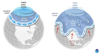 The polar vortex is an area of low pressure and cold air over the polar regions. When winds that keep colder air over the Arctic become less stable, cold air can dip farther south. (Credit: NOAA) Click to Enlarge.