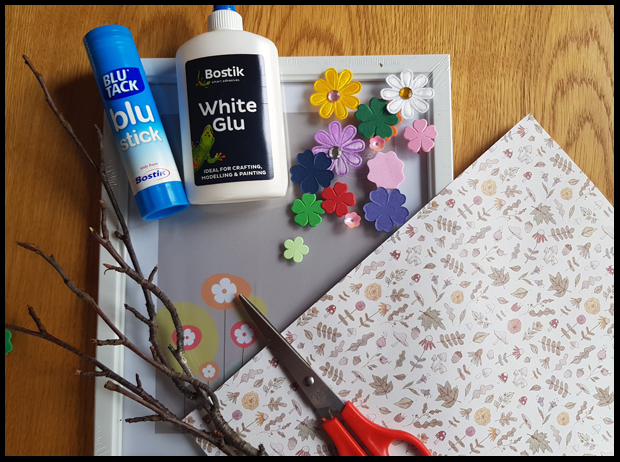 Materials needed to make a blossom tree for my Bostik Blogger Challenge