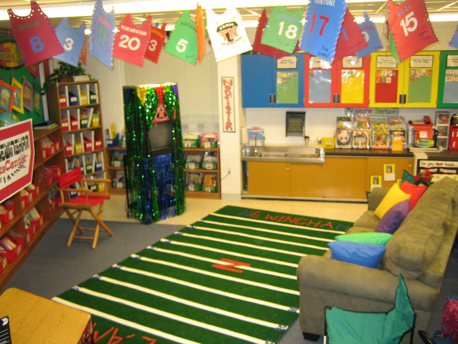 Classroom Decorations For Elementary ~ Sports themed classrooms clutter free classroom