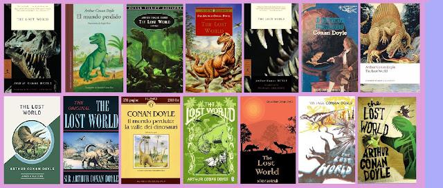 portadas de la novela clásica de aventuras y ciencia ficción El mundo perdido, de Arthur Conan Doyle