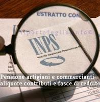 aliquote contributive e fasce di reddito per pensione artigiani e commercianti