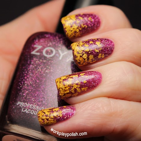 Zoya 18K Gilty and Aurora Gradient Nail Art