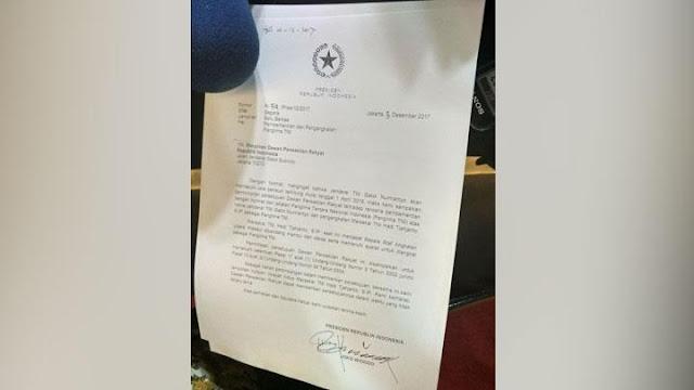 Isi Surat Jokowi Soal Pemberhentian Panglima TNI Gatot Nurmantyo