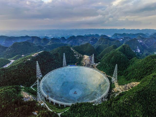 Hình ảnh chụp từ trên cao cho thấy kính viễn vọng lớn nhất thế giới ở tỉnh Quý Châu, Trung Quốc. Credit: Getty Images.