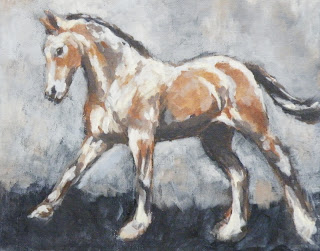 April Showers, foal painting, acrylic horse painting, equestrian art uk