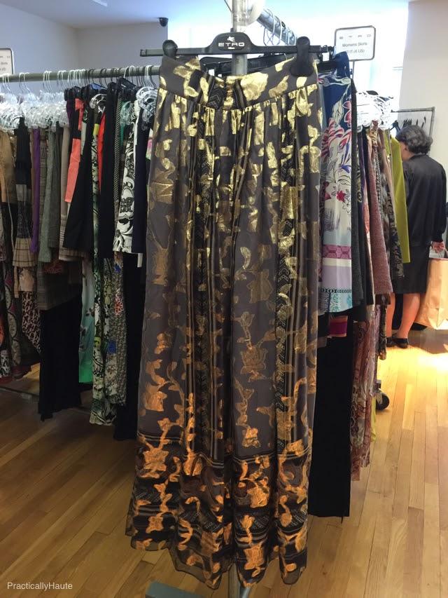 Etro sample sale silk gold brocade long skirt