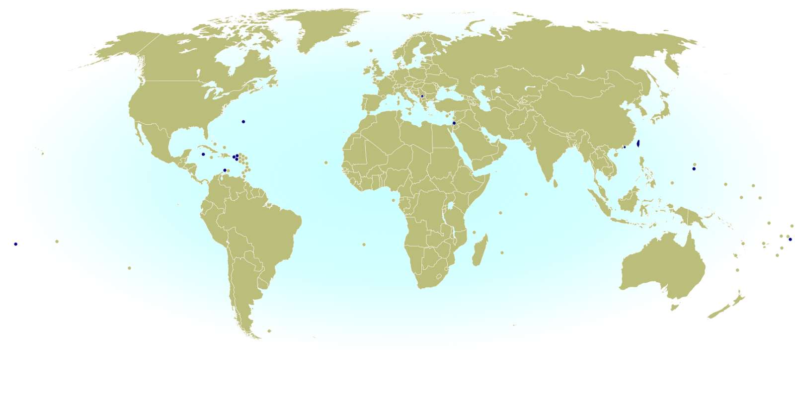 World map marking dependent territories and partially recognized countries (de facto sovereign states) that have recognized National Olympic Committees and are allowed by the IOC to participate in the Olympic Games