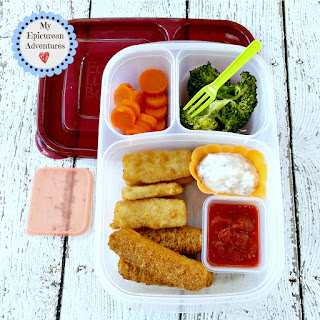 My Epicurean Adventures: Lunch Box Fun 2015-16: Weeks #23-28. Lunch box ideas, school lunch ideas, lunches, fish sticks and mozzarella sticks
